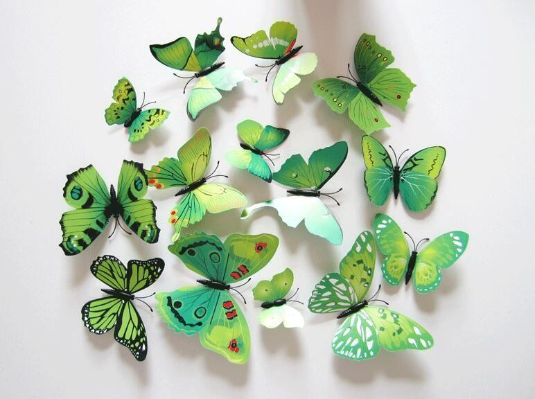 Pegatinas de pared 3D Decoración de la mariposa Pegatinas de pared extraíbles Butterflys para sala de estar Pegatinas de mariposa Decoración del hogar 1lot = =