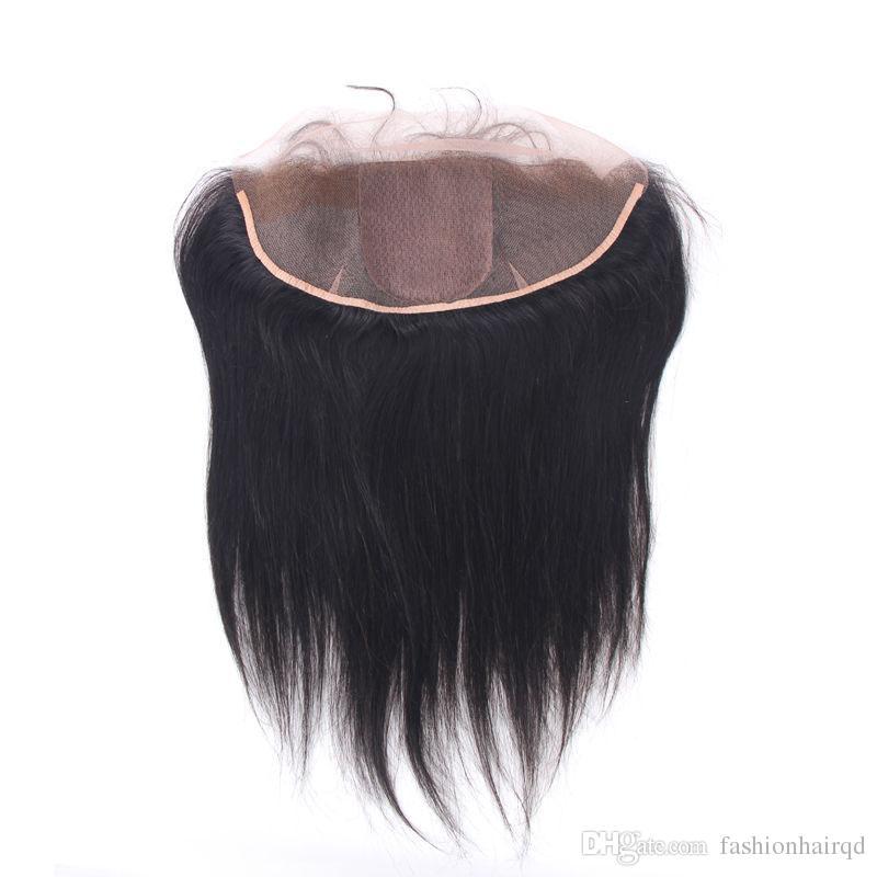 Cabello humano indio crudo Cordón de seda de la base Frontal Recto pelo virgen sin procesar de seda Oreja a oreja Cierre de encaje 13 * 4