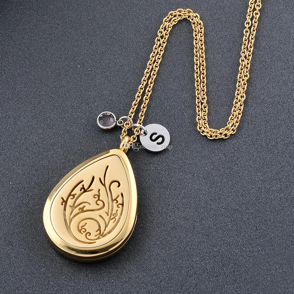 Gold Plating Stainless Steel Diffuser Locket Aromatherapy Essential Oil Pendant Necklace