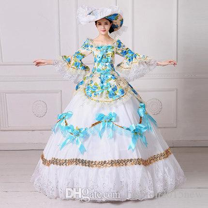 4f98e4aa2b Marie Antoinette Masquerade Dresses Renaissance Southern Belle Ball Gowns  2017 New Floral Printed Theatrical Clothing Women Lace Dress FN204 Four  Person ...