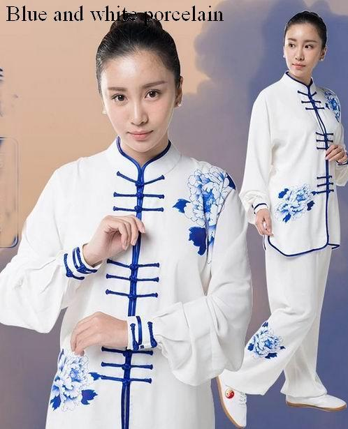 Blue and white porcelain printing tai chi clothing spring and autumn Jiajia cotton martial arts tai chi performance suit