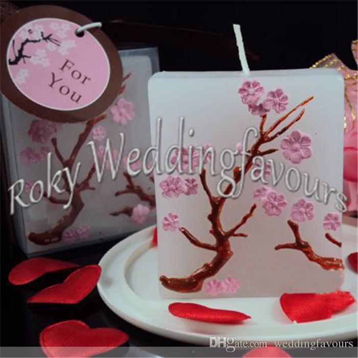 Livraison Gratuite 50 PCS Fleur De Cerisier Bougie Faveurs De Douche De Mariée De Mariage Cadeaux Anniversaire Souvenirs Parti Cadeaux