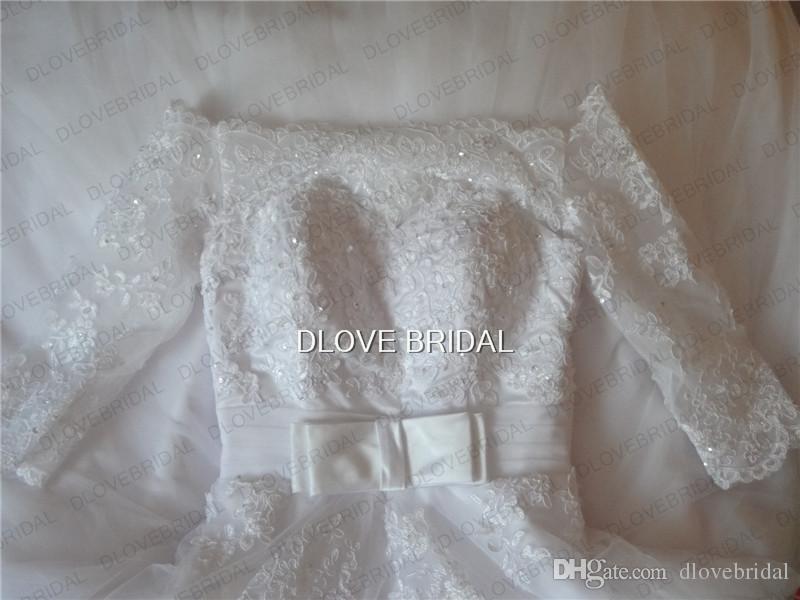Land Vintage Spitze Brautkleider Off Shoulder Halb mit langen Ärmeln Prinzessin Ballkleider Satin Bogen Gürtel Vestido de Noiva Plus Größe Real Photo