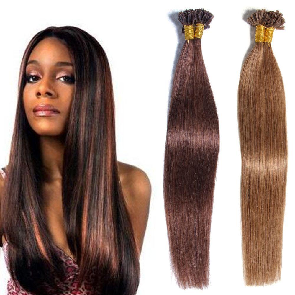 Human Hair Crochet U Tip Hair Extension Prebonded Keratin Nail Tip