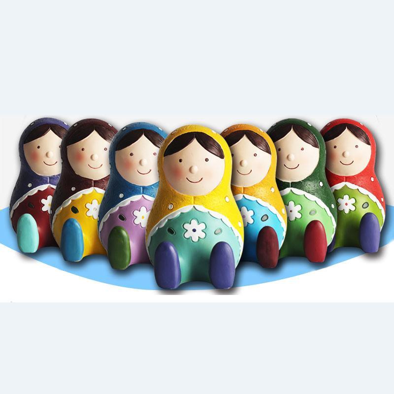 Zakka Style 4 5 inch Height Russian Dolls Piggy Bank Polyresin Russia  Matryoshka Nesting Doll Coin Bank Charity Orphan Gifts