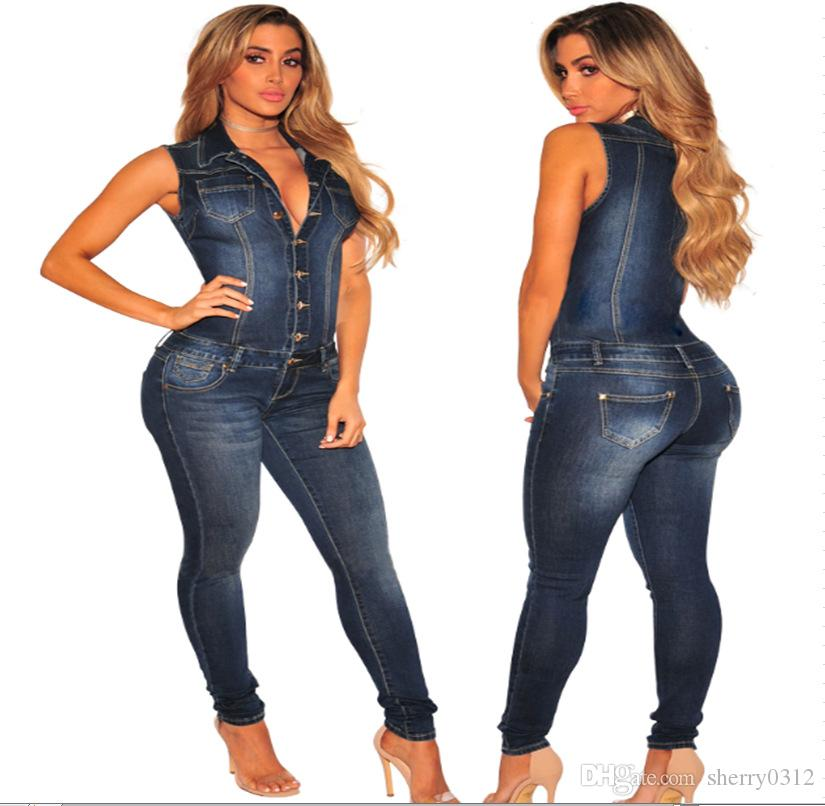 3ed280f9880b 2019 2017 Women Blue Jeans Jumpsuit Ladies Club Night Wear Long Rompers  Women Sexy Single Breasted Slim Button Zipper Denim Jumpsuits Casual From  Sherry0312 ...