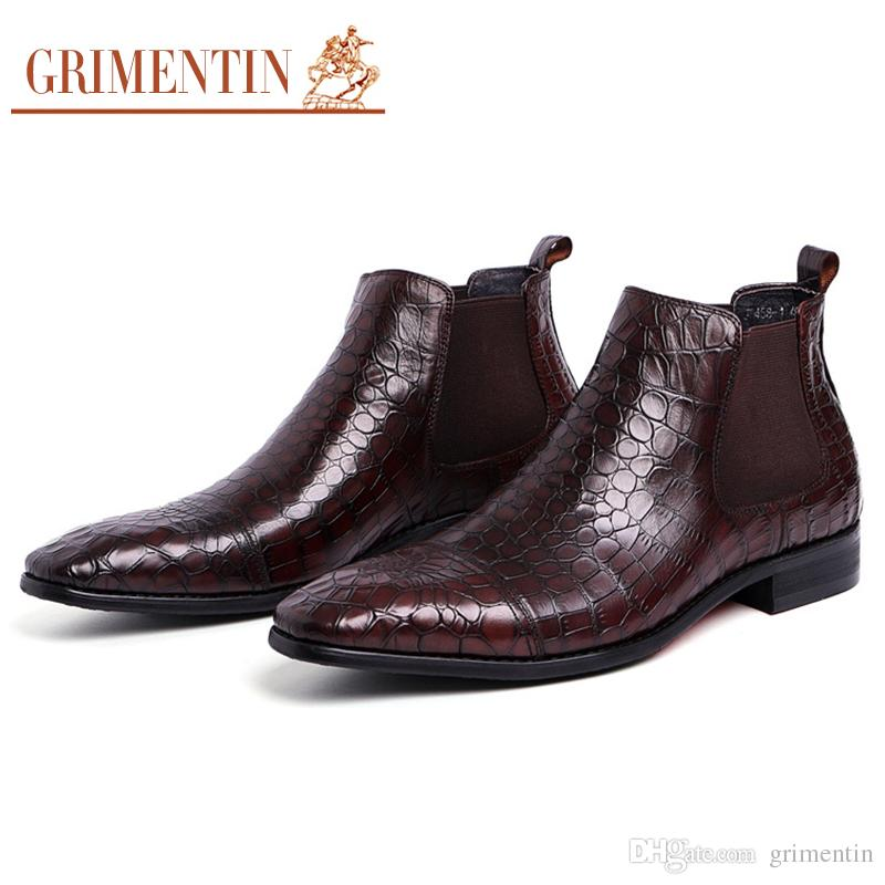 b726f788524e GRIMENTIN Hot Sale Dress Brown Mens Boots Fashion Designer Genuine Leather  Crocodile Style Men Ankle Boots Black Italian Brand Mens Shoes