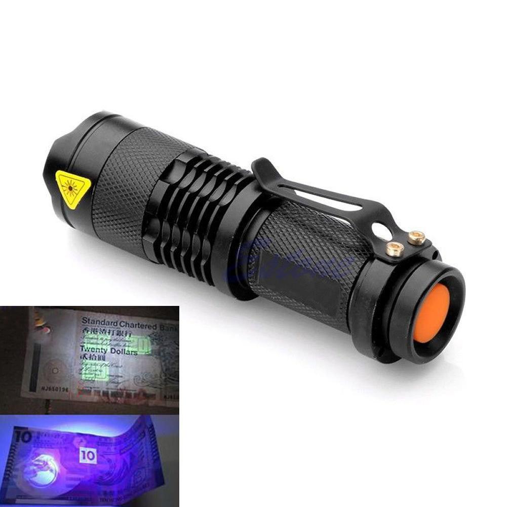 Sanyi Mini Aluminum Zoomable Portable UV Flashlight Violet Light LED Flashlight UV Torch Light