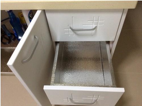 Gabinete engrosado pegatinas de papel de aluminio hoja de estaño, pegatinas de aceite de cocina a prueba de agua esteras del gabinete del cajón estera self-adhesi