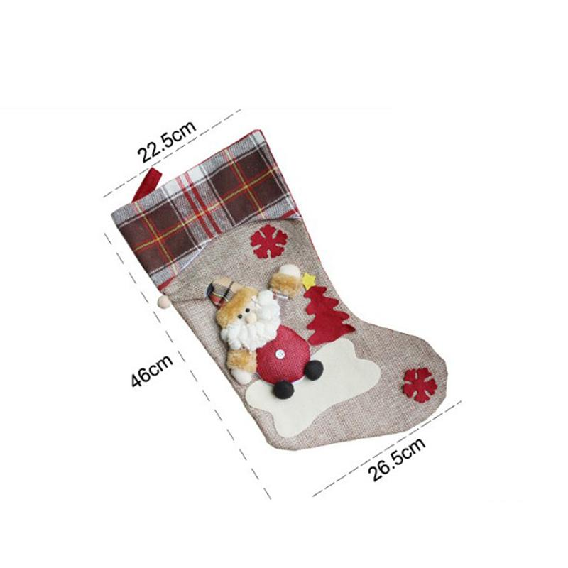 3 Styles New Year Christmas Stockings Socks Plaid Santa Claus Candy Gift Bag Xmas Tree Hanging Ornament Decoration