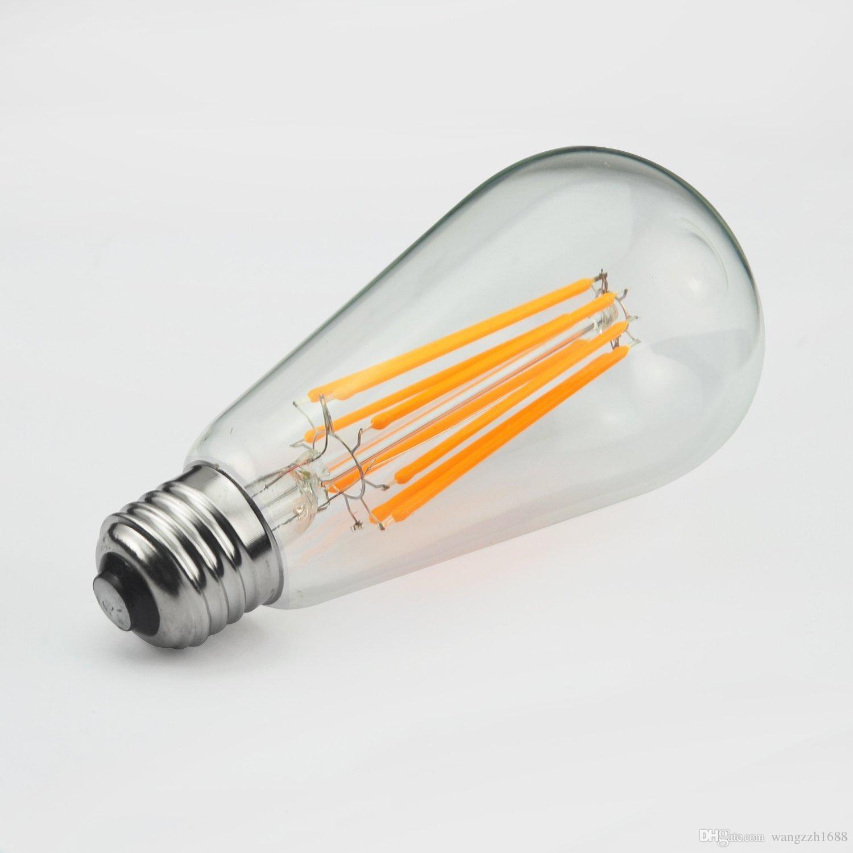 Meegan 10w Led Tungsten Light Bulb, 1000lm, 100w Incandescent Equivalent,  220v, E27 E26 Base, 2200k Warm White, Clear Glass Cover Full Spectrum Light  Bulbs ...