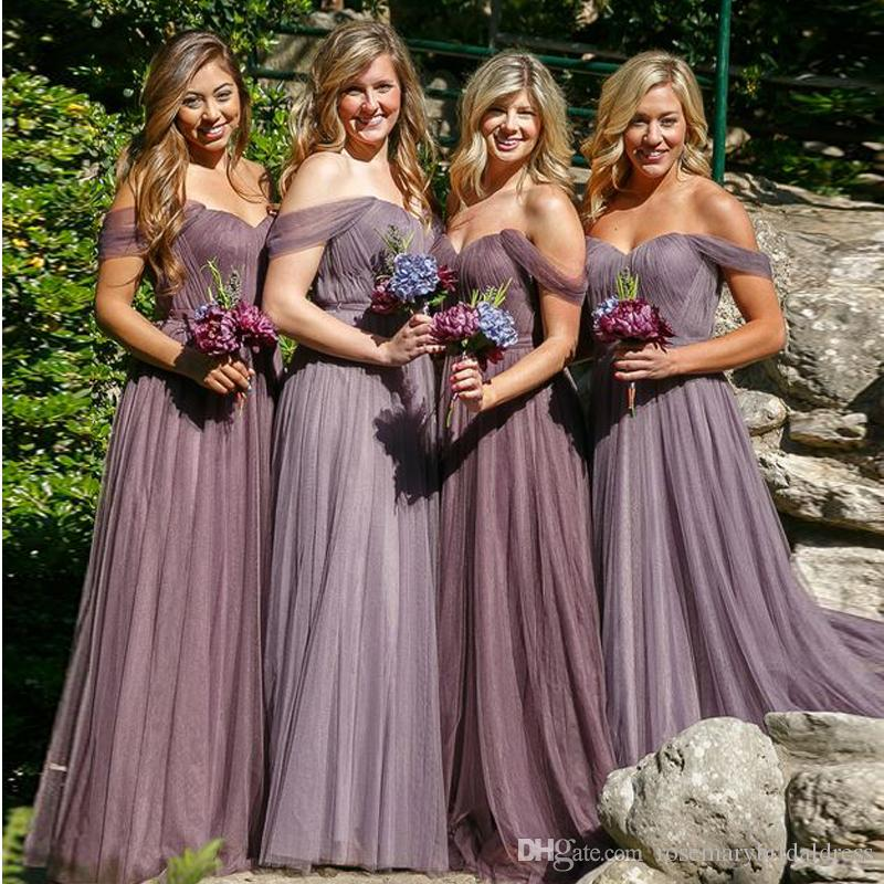 top-rated official choose best great variety styles Dusty Rose Bridesmaid Dresses 2017 summer Tulle Fancy Dresses Off The  shoulder elegant Cheap Wedding Guest Dresses Maid Of Honor Gowns