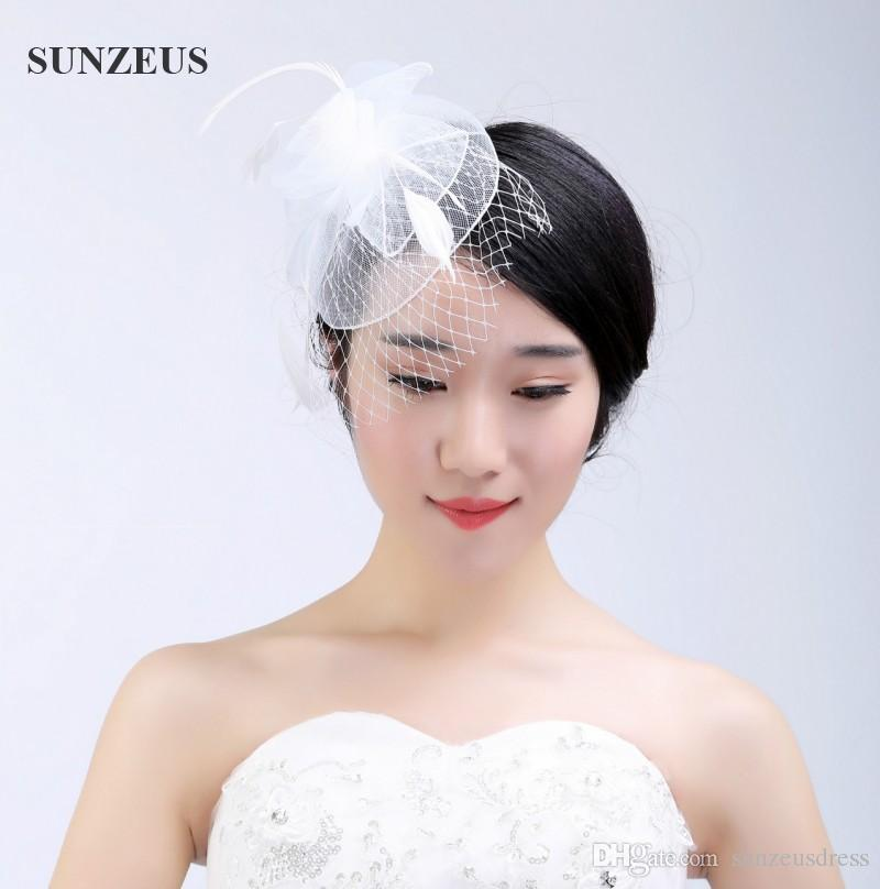 2017 New Flower Wedding Feather Headpiece Tulle Fascinator Hats Fashion Bridal Hat With Veil White Head Accessories