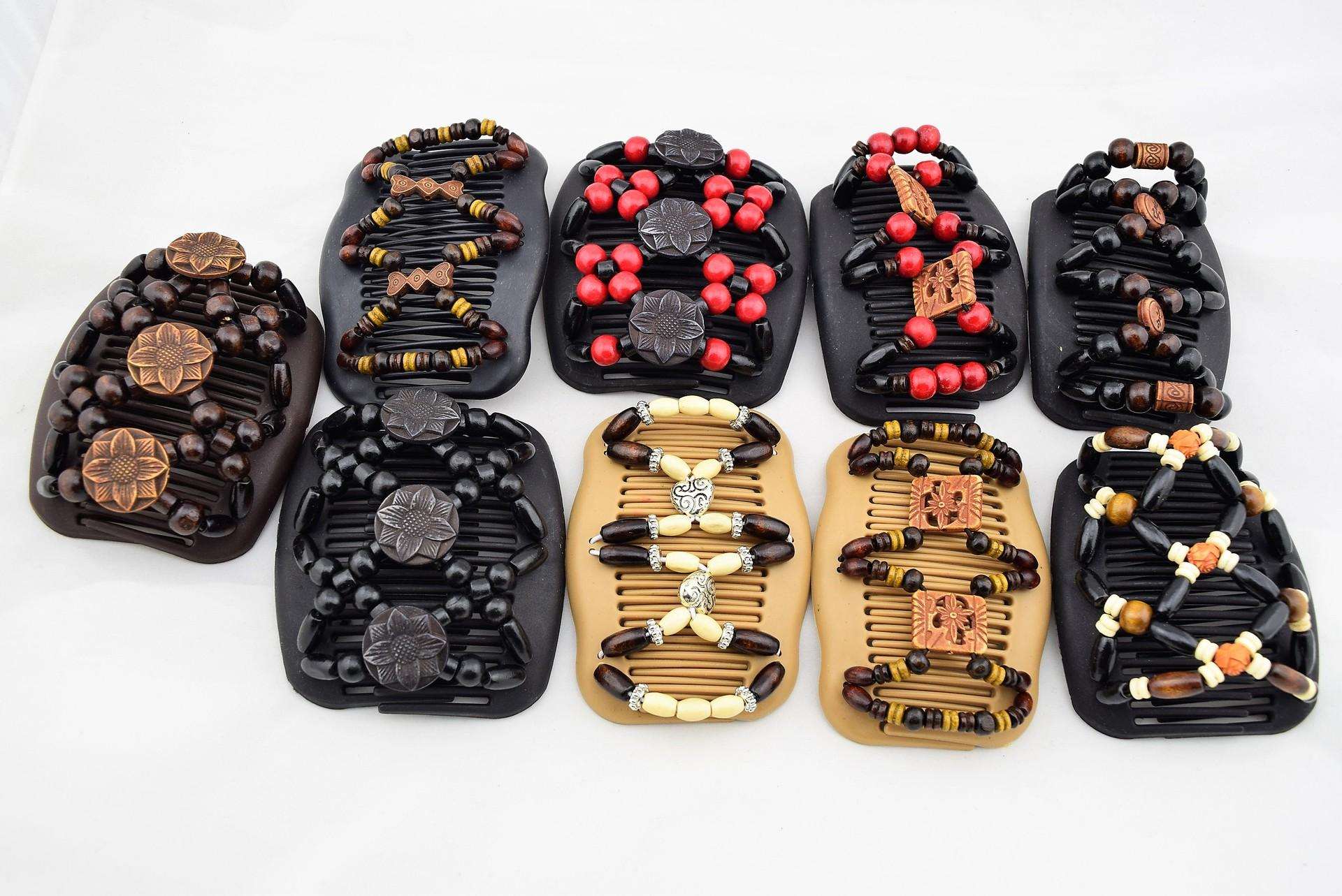 Women Magic Hair Clips Like Wood/wooden with Beads Double Womens Comb Plastic hair clips Mixed Color Random