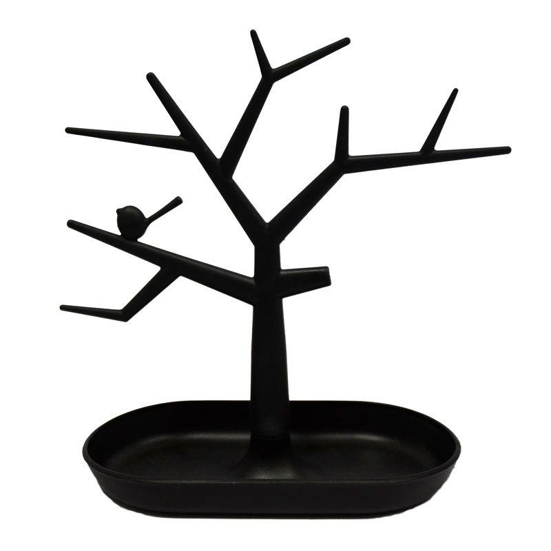 2 piezas collar de la joyería negro anillo pendientes Bird Tree Stand Display Organizer Holder