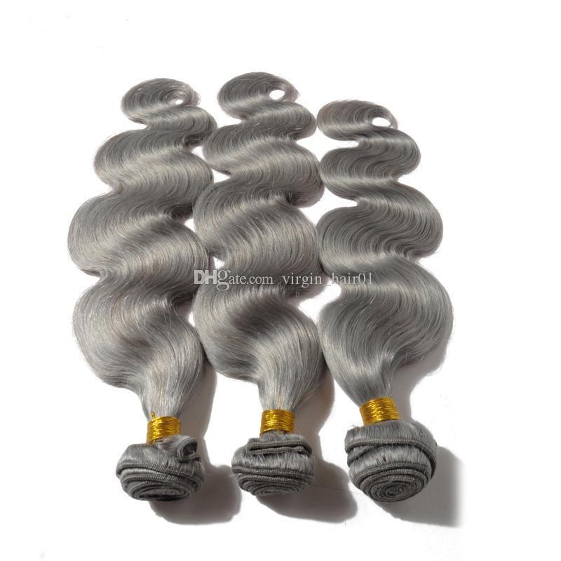 Neu Kommen 9A Grade Malaysische Körperwelle Grau Haarwebart Silber Grau Körperwelle Menschenhaarverlängerungen Grau Reines Haar Für Verkauf