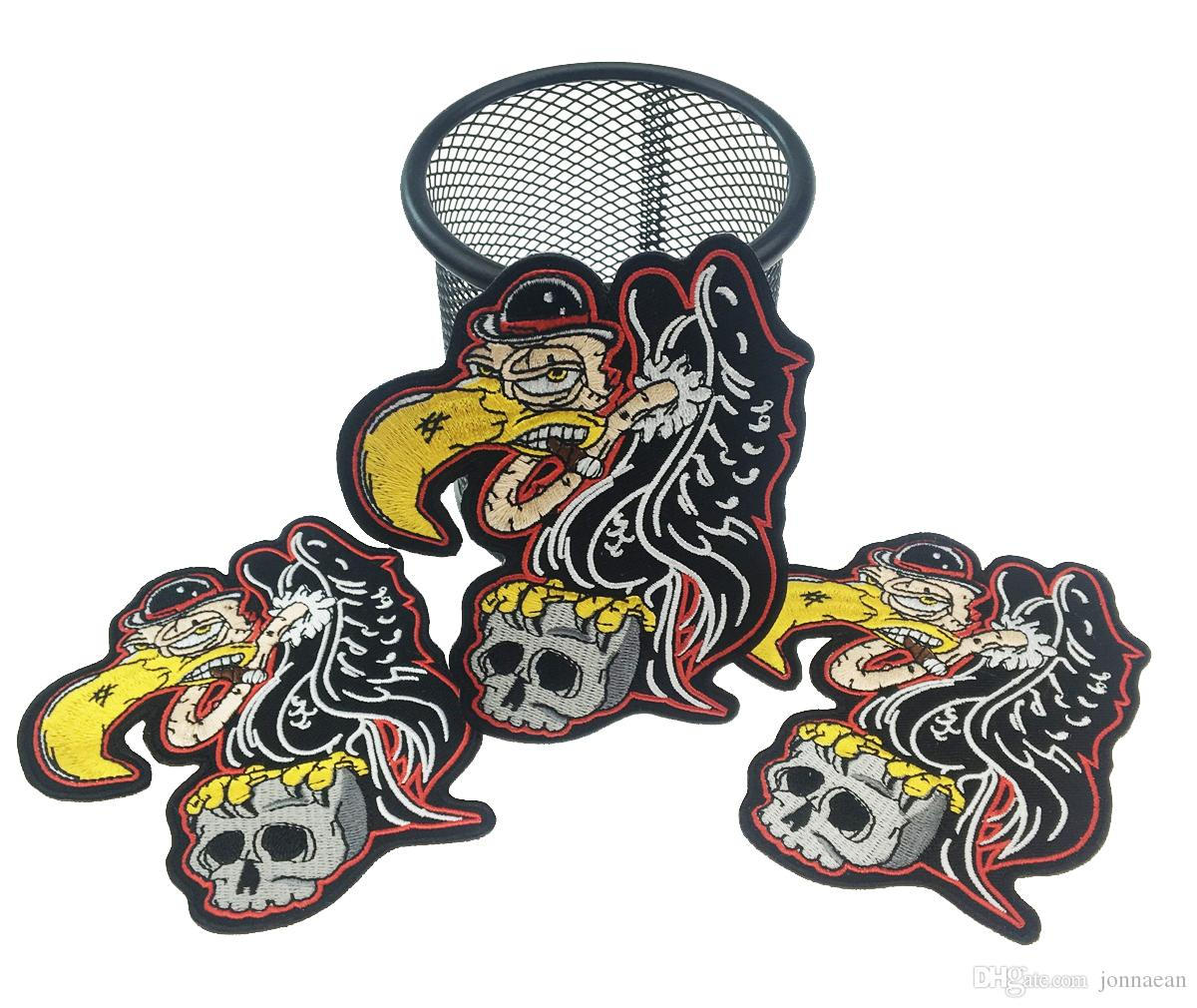 New Arrival EAGLE Grab Skull Embroidered Iron On Jacket Patch DIY Applique Accessory Sew On Badge Stitch Patch