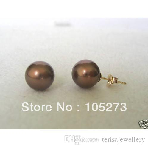 Charmante natürliche Muschel-Perlen-Schmucksachen 8mm runde Schokoladen-Farben-Seeoberteil-Perlen-Ohrringe 14k-20 GP-Bolzen-heißer Verkauf geben Schiff E02 frei
