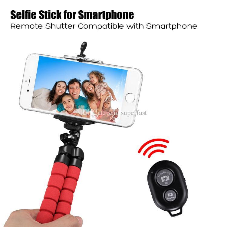 Esnek Ahtapot Tripod Telefon Tutucu Evrensel Cep Telefonu Araç Kamera Için Braketi Standı Özçekim Monopod ile Bluetooth Uzaktan Deklanşör