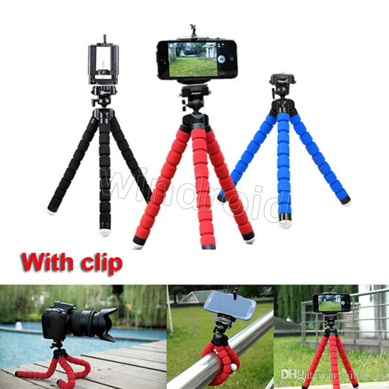 Flexible Tripod Holder For Cell Phone Car Camera Universal Mini Octopus Sponge Stand Bracket Selfie Monopod Mount With Clip cheap 300pcs