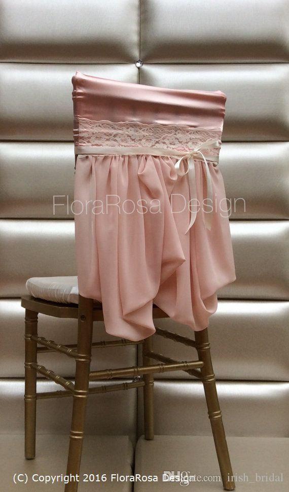 2016 Blush Pink Lace Taffeta Vintage Chair Sashes Romantic Beautiful Chair Covers Cheap Custom Made Wedding Supplies
