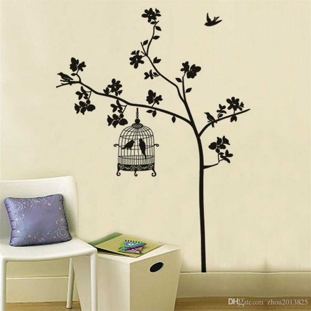 swallow singing tree birdcage diy wall stickers wallpaper art swallow singing tree birdcage diy wall stickers