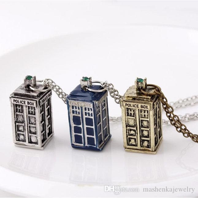 Wholesale doctor who tardis police box necklace bronze silver wholesale doctor who tardis police box necklace bronze silver mysterious phone box charm tardis pendant necklaces statement jewelry for gift ne006 heart aloadofball Images