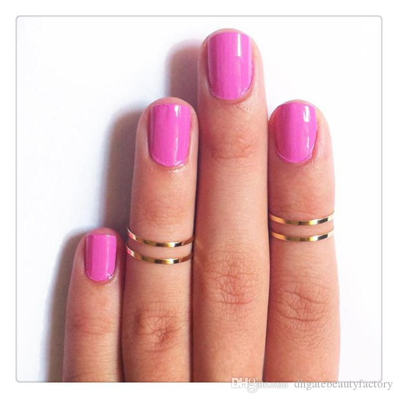 2017 Hot Rings Set Finger Rings Stack Plain Cute Above Knuckle Ring Band Midi Ring Set For Women Gold Tone Gift