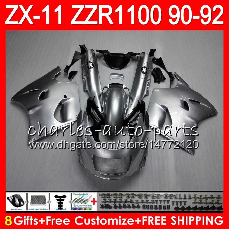 8 regalos es para KAWASAKI NINJA ZX11 ZX11R 90 91 92 ZZR 1100 21HM15 ZX 11 11R gris brillante ZZR1100 ZX-11R ZX-11 1990 1991 1992 kit de carenado