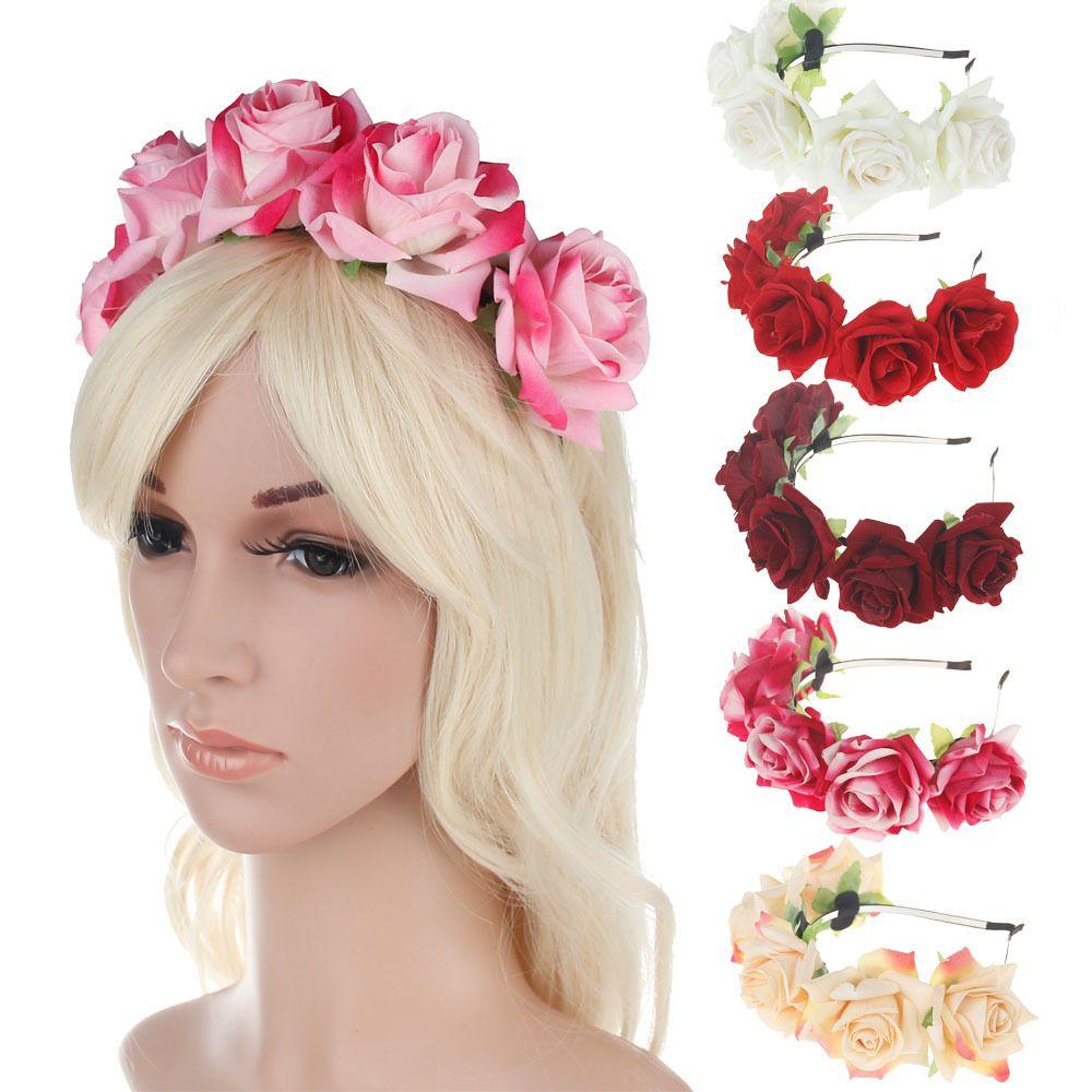2018 New Velvet Rose Flower Headband Headdress Flower Ring Headband