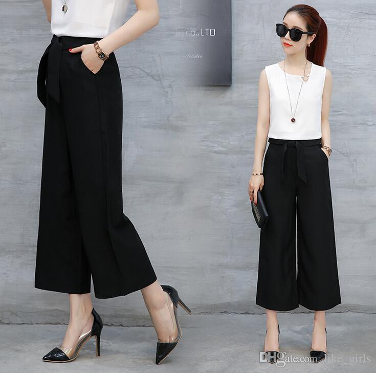 Buena A ++ Pierna ancha hembra nueve minutos verano cintura alta suelta pantalones grandes ocasionales PW021 Pantalones para mujer Capris