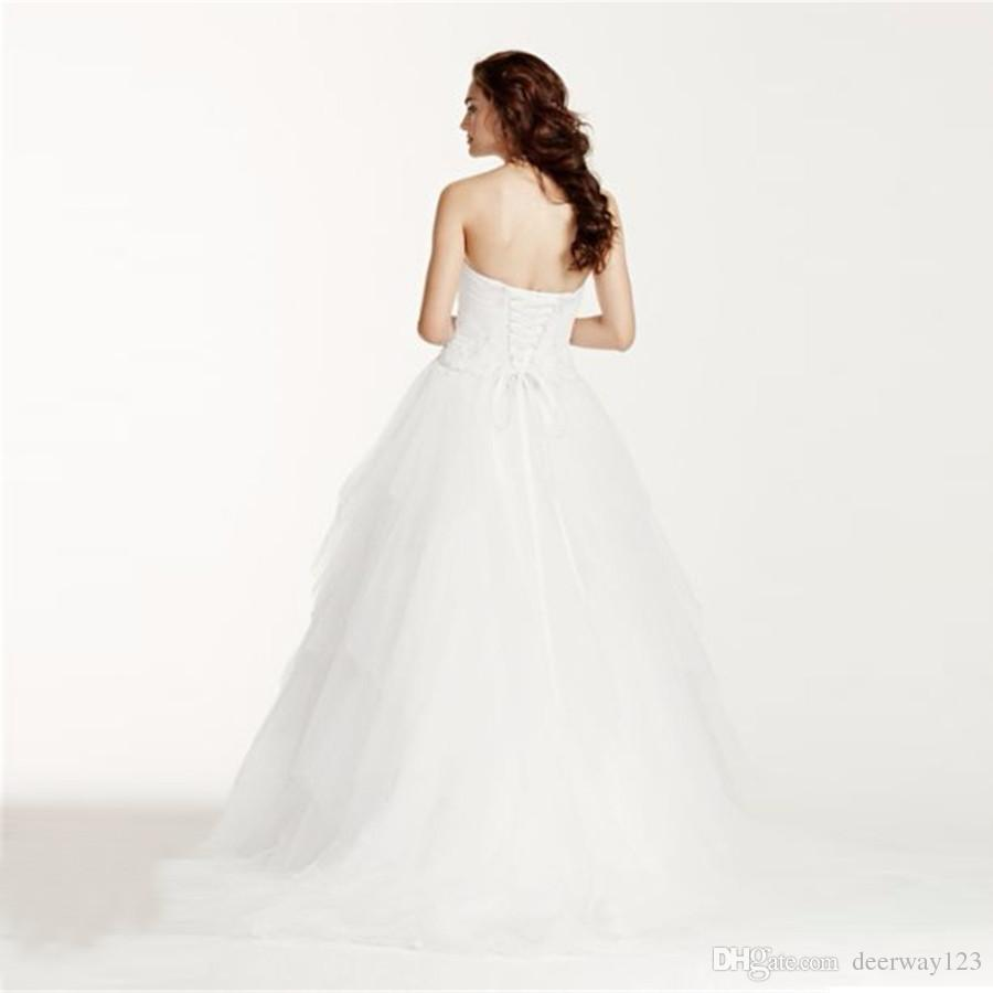 Elegant Jewel Strapless Tiered Tulle Wedding Dress Open Back with Lace up Cystom Made Plus Size Bridal Gowns WG3722