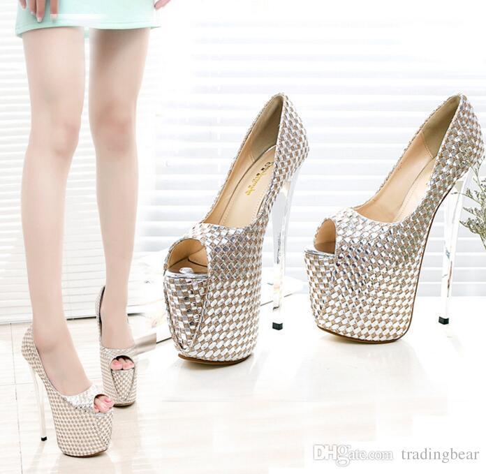 Großhandel 20cm Trendy Ultra High Heel Knöchelriemen Peep Toe Plateau Pumps Damen Schuhe Nachtclub Party Größe 35 Bis 40 Von Tradingbear, $43.45 Auf