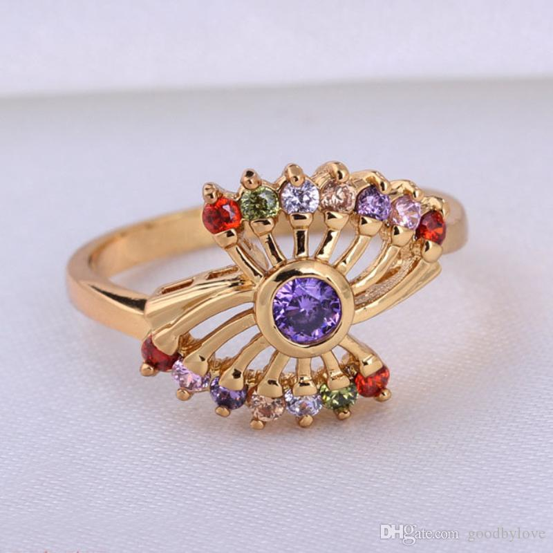 New Arrivals Top Quality 18K Yellow Gold Plated Multicolor Crystal Cluster Sector Finger Ring for Women Engagement Wedding