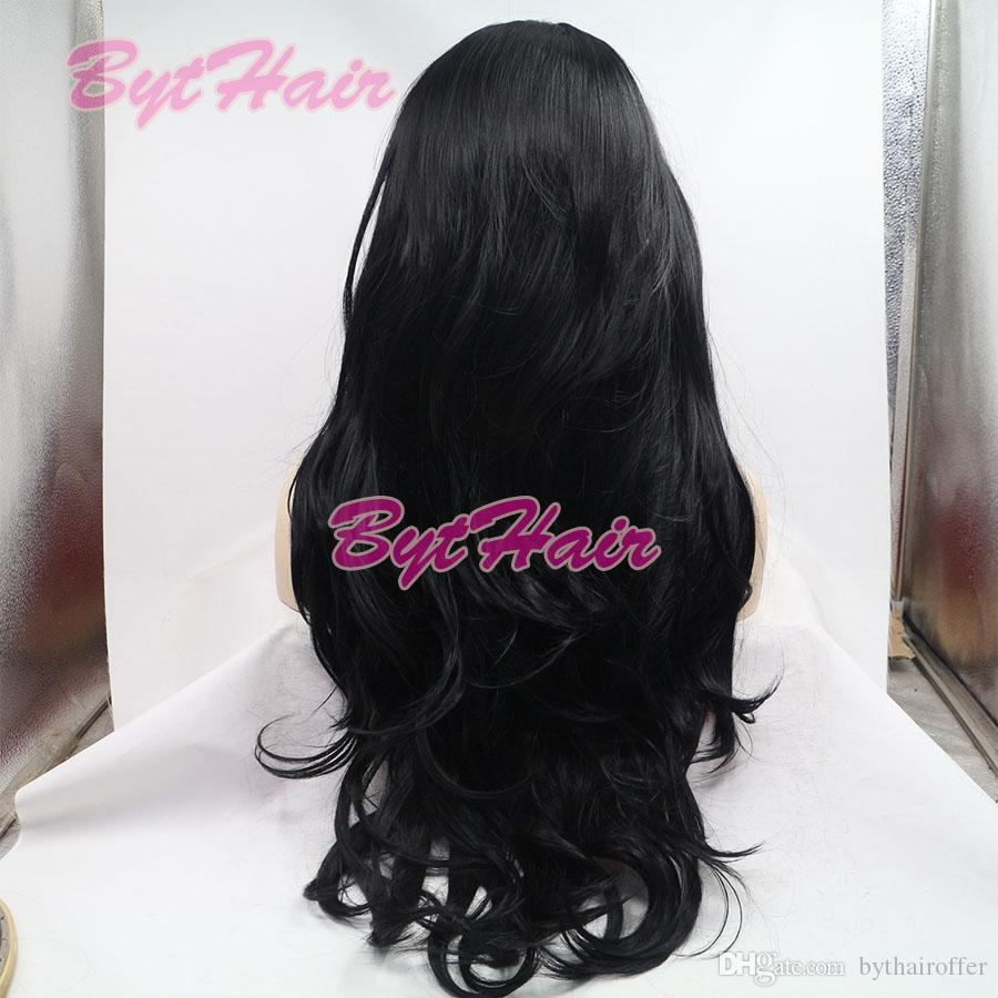 Bythair Natural Hairline Glueless Heat Resistant Fiber Hair Wigs For Black Women Long Jet Black 1# Wavy Synthetic Lace Front Wig