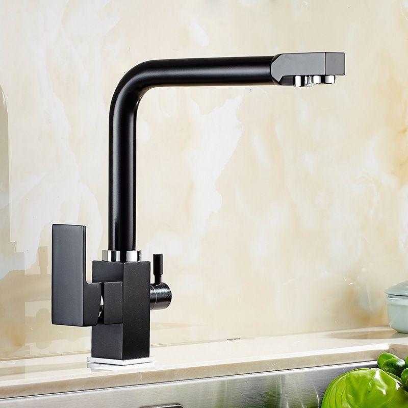 2018 3 Way Water Filter Tap Three Way Sink Mixer Black Painted ...