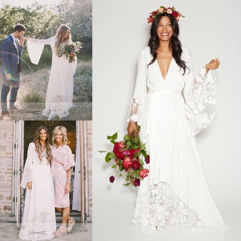 425860a0f8 Venda quente Boho Praia Vestidos de Casamento Longo Sino Manga Lace Flor De Noiva  Vestidos Plus Size Hippie Vestido de Noiva Boêmio Barato vestido de novia