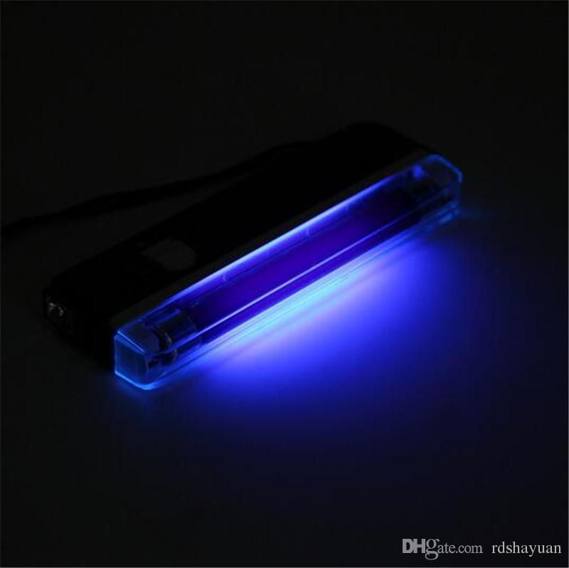 أسود المحمولة مصباح الأشعة فوق البنفسجية 2in1 اللمعان الشعلة blacklight ضوء الأشعة فوق البنفسجية أنبوب لمبة يده كاشف البطارية بالطاقة 6v