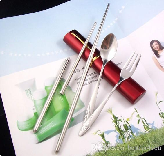 Wholesale outdoor stainless steel cutlery set fork spoon 3in1 cutlery set portable for camp backpacking, moutaineering travel