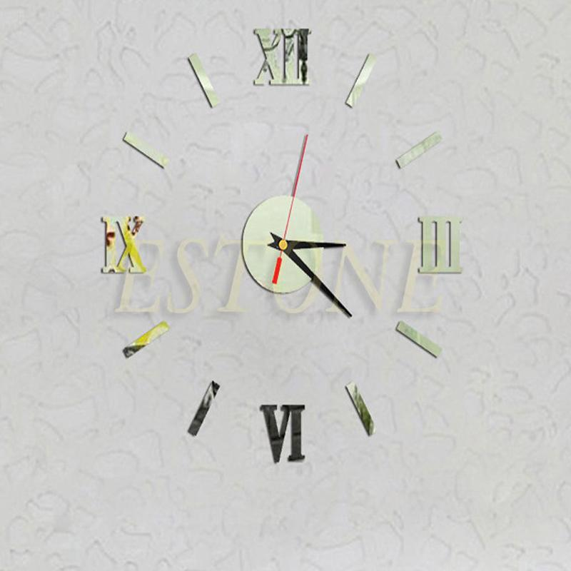 Whole 3d Modern Diy Sliver Mirror Surface Sticker Home Decor Roman Numeral Wall Clock Unique Clocks Kitchen From Lireen
