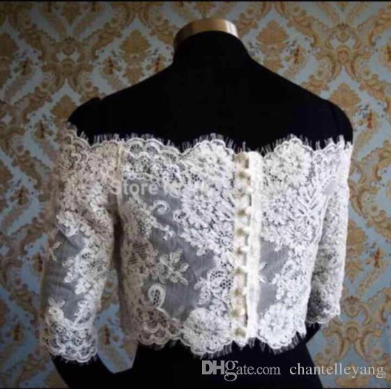 Off Shoulder Alencon Lace Jacket Illusion Half Sleeve Covered Button Bridal Shrug Boleros Wraps Wedding Dress accessories Shawl White/ivory