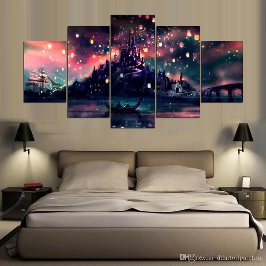 "LARGE 60""x32"" 5Panels Art Canvas Print Harry Potter Hogwarts Art Poster Wall Home Decor interior No Frame"