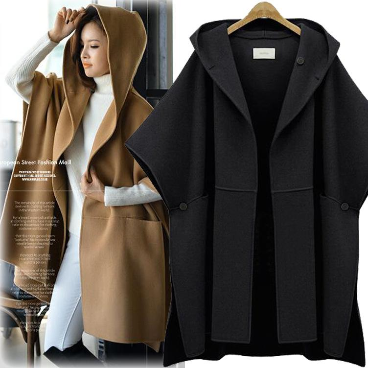 Plus Size 5XL Long Wool Cotton Coat Parkas for Woman Winter Coats and Jackets Hooded Poncho Feminino Inverno Ladies Cape Coats