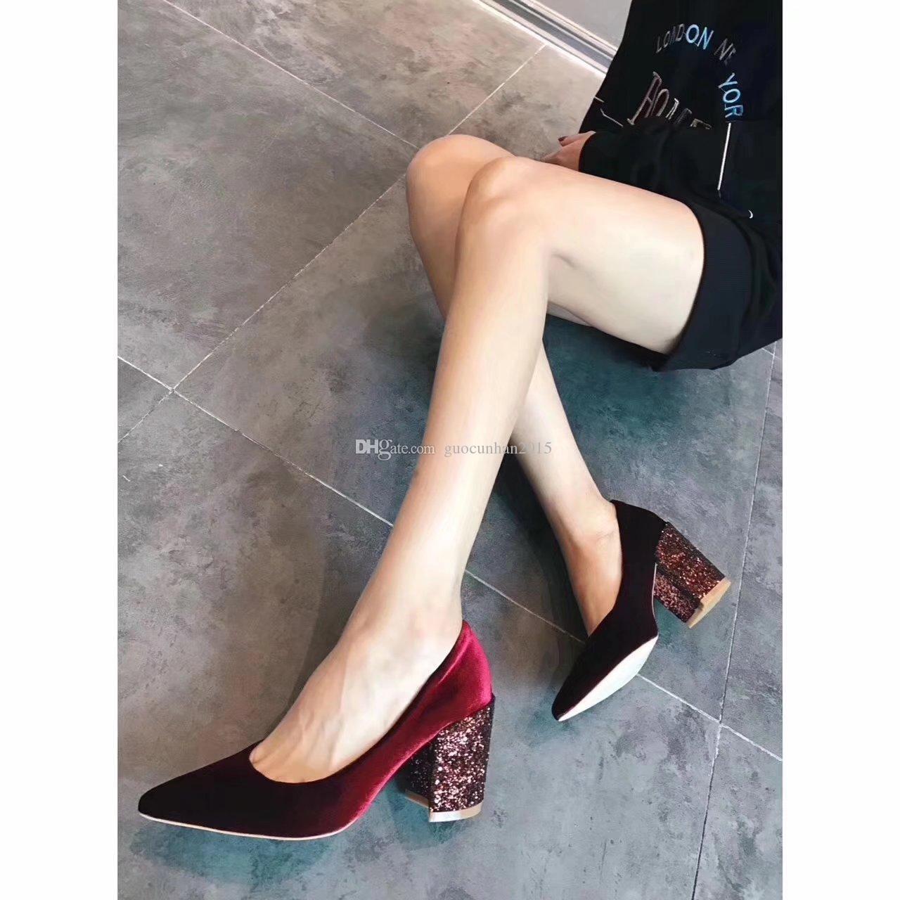 d1f9fec57b0e Glitter Heels Velvet Dress Shoes Female Chunky Heels Brand Hot Fall ...
