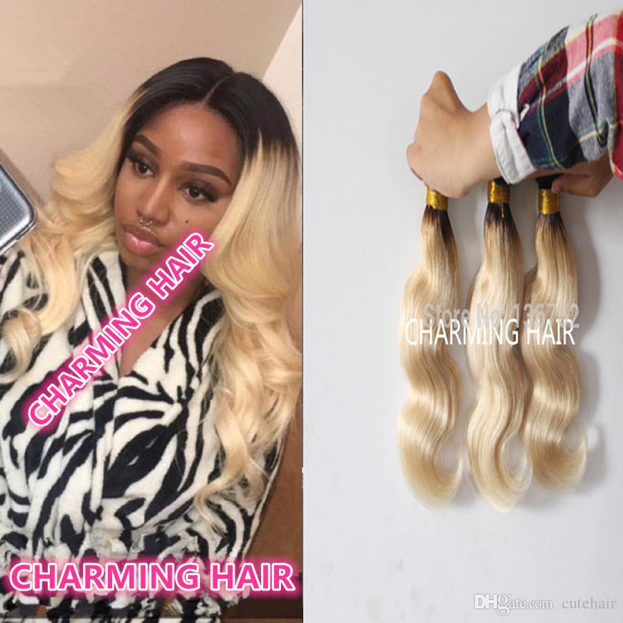 Темный корень malaysian ombre hair 1b / платина блондинка человеческие волосы волна тела weave дешевые 613 ombre наращивание волос смешанные 10 '' - 26 ''
