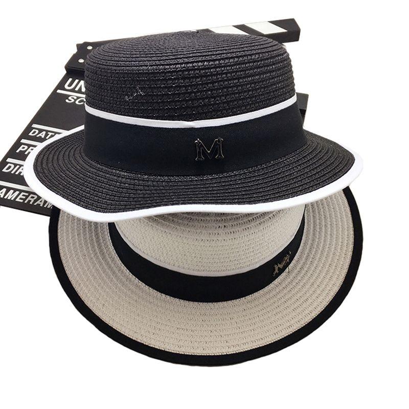 24e27975eb4 Wholesale- Fashion Cap Europe M Letter Flat Top Small Sun Hat Visor Summer  Vacation Sun Beach Hat Wide Brimmed Straw Hat Shading Floppy Cap Hat Solar  Hat ...