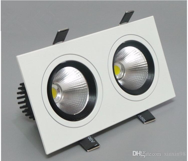 Dimmable Double Cob Led Ceiling Downlight 20w 120 angle warm/natural/ white 100-240v Square Led Bulb Lamp Lighting