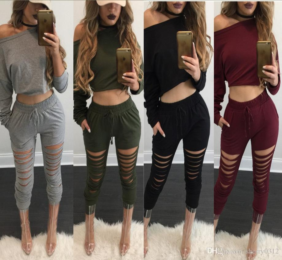 d51152315c 2019 2017 Sexy Slash Neck Long Sleeve Drawstring Tracksuit Womens Jogging  Bottoms Sweatpant Slim Pants Set Hollow Out Sport Suit Jumpsuit From  Sherry0312