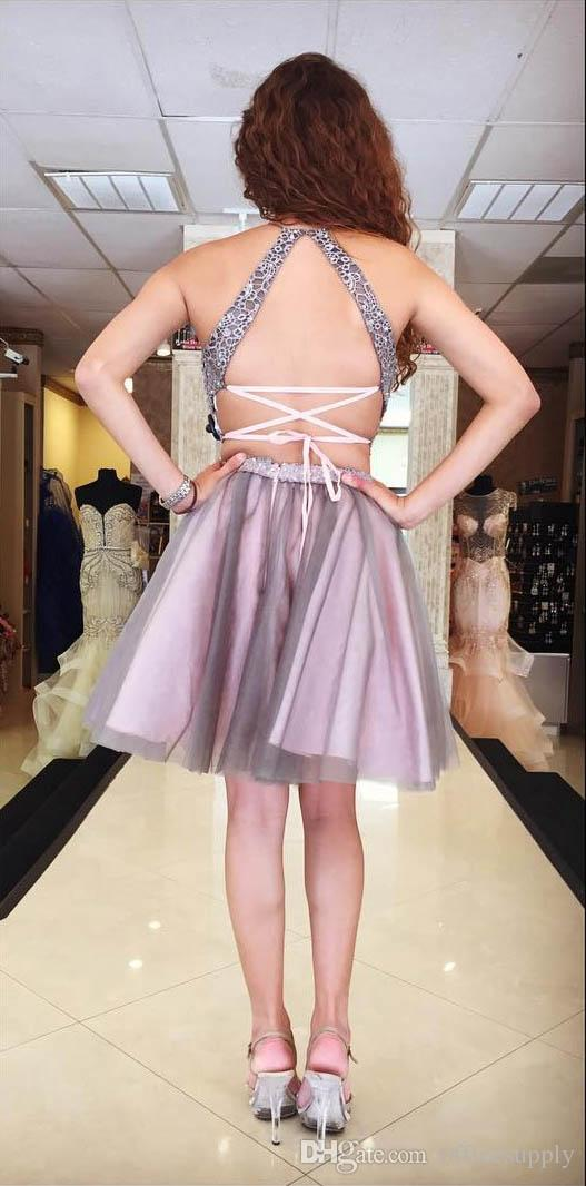 2017 Two Pieces Light Purple Homecoming Dresses Halter Neckline Sleeveless Backless Short A-line Lilac Lace Tulle Cocktail Dress