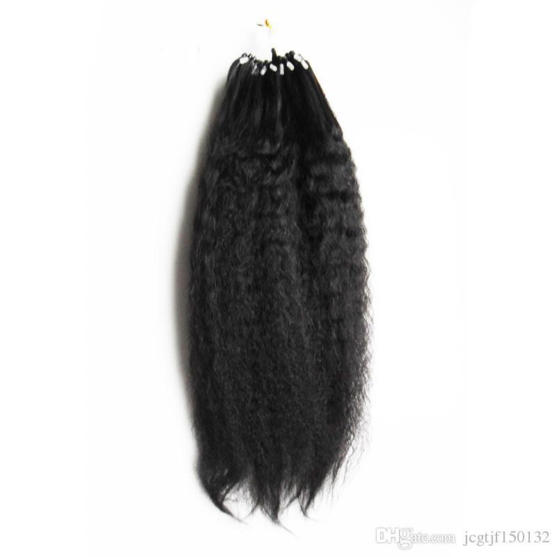 Micro Loop Extensões Do Cabelo Humano Kinky Em Linha Reta 100g YAKI Micro loop kinky micro contas / extensão do cabelo anel